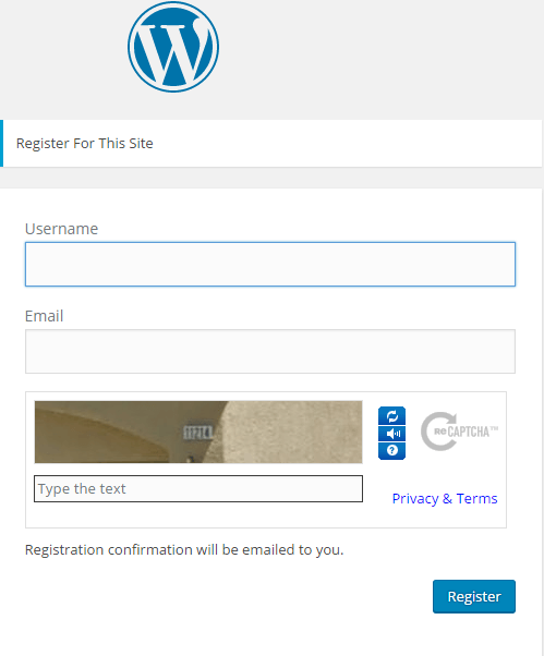 wordpress registration
